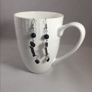 Black sparkly dachshund earrings